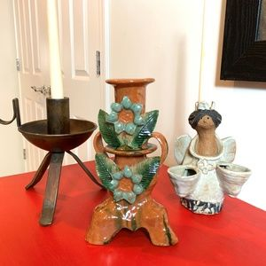 Other - 3 - Unique Handmade Pottery & Iron Candle Holders